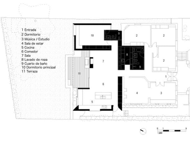 Skylight House plano planta Andrew Burges Architects