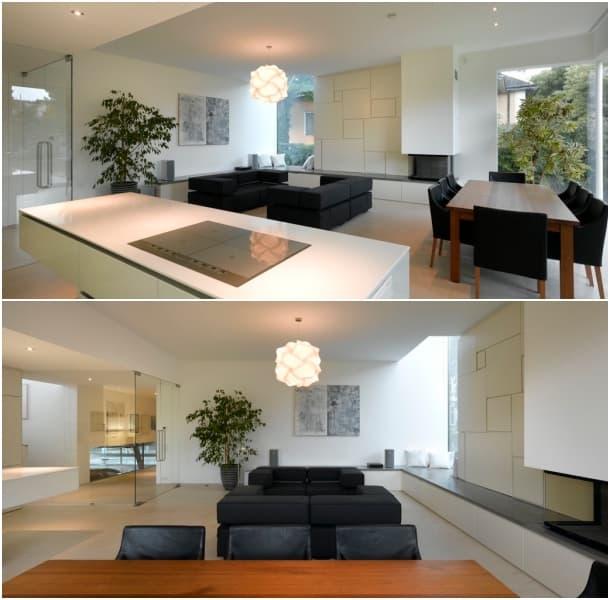 cocina y salon Casa Elise - Synn Architekten