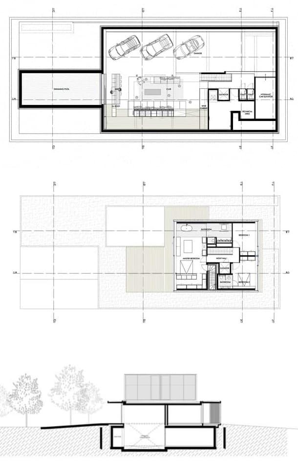Ejemplo de planos de planta y sección de casa aislada