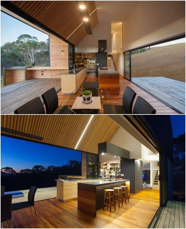 casa solar en Tasmania - cocina