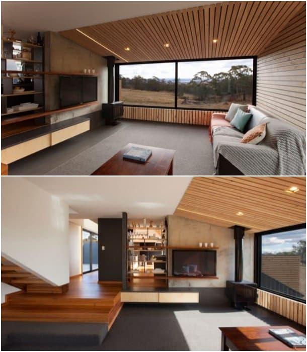 casa solar en Tasmania - sala de estar