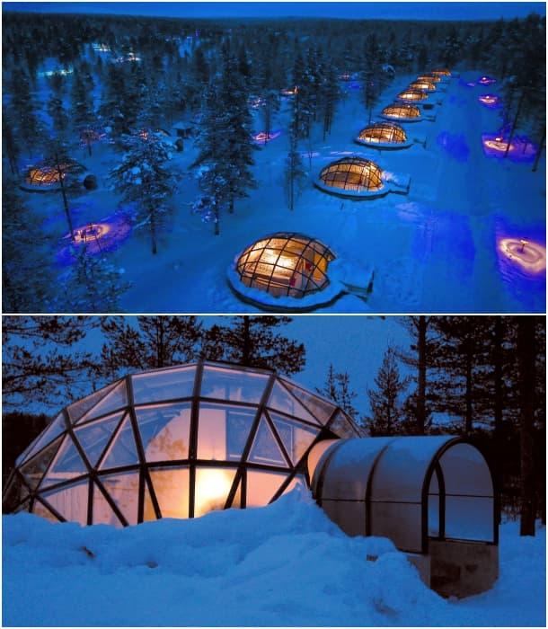 iglús de cristal en Laponia - visa aérea