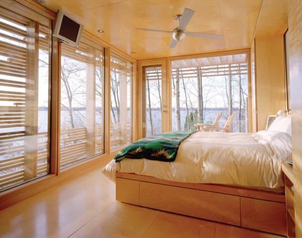 interior moderno refugio de madera Lago Simcoe