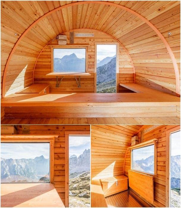 interior refugio montana Bivak II