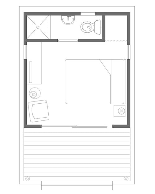 plano planta refugio ZipCabin