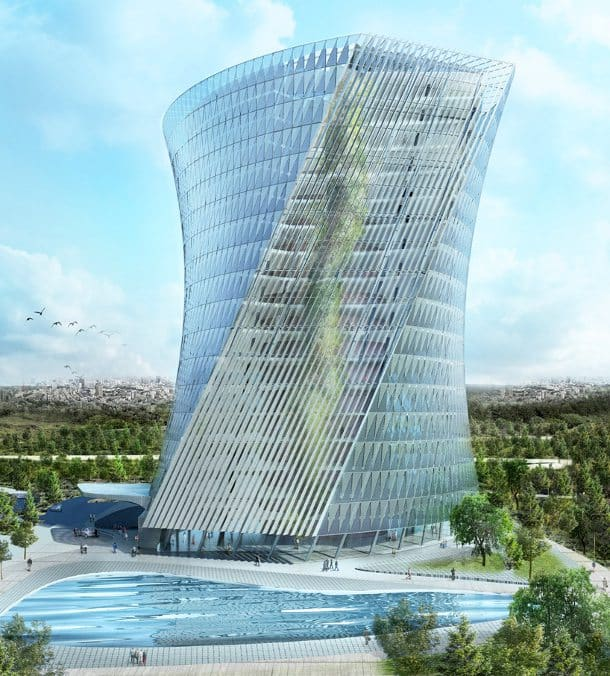 Flying Garden Tower, con jardines interiores