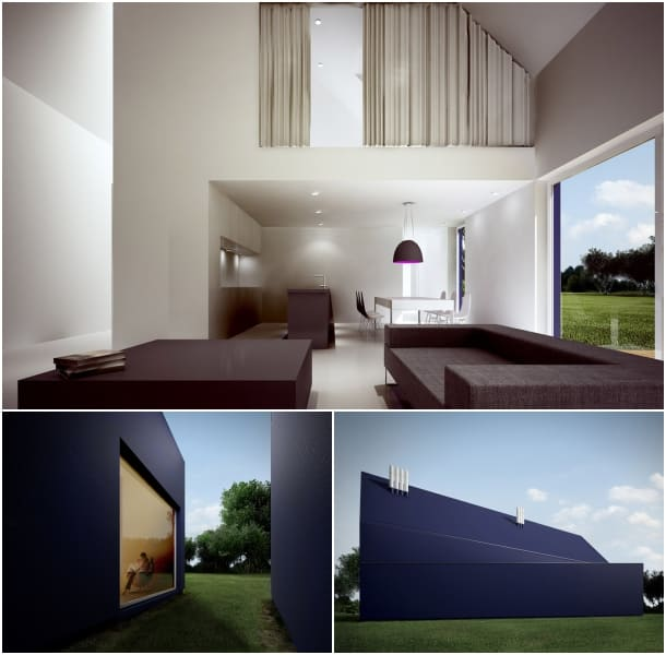 L House - salón doble altura - exteriores