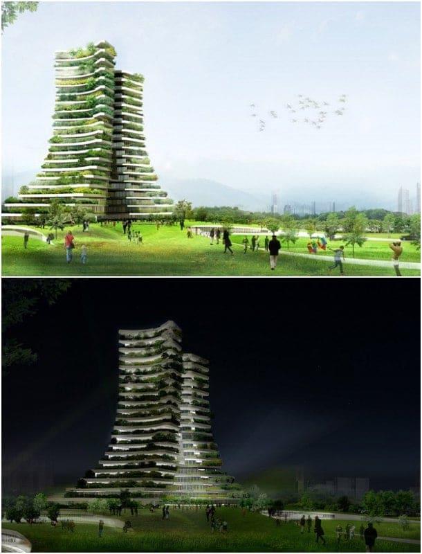 arquitectura con vegetación torre ayuntamiento de Bac Ninh