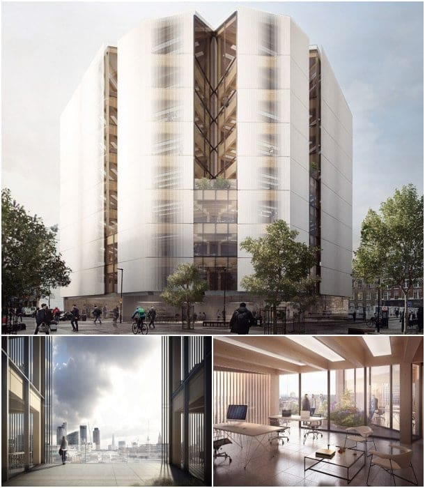 bloque de oficinas de madera Londres
