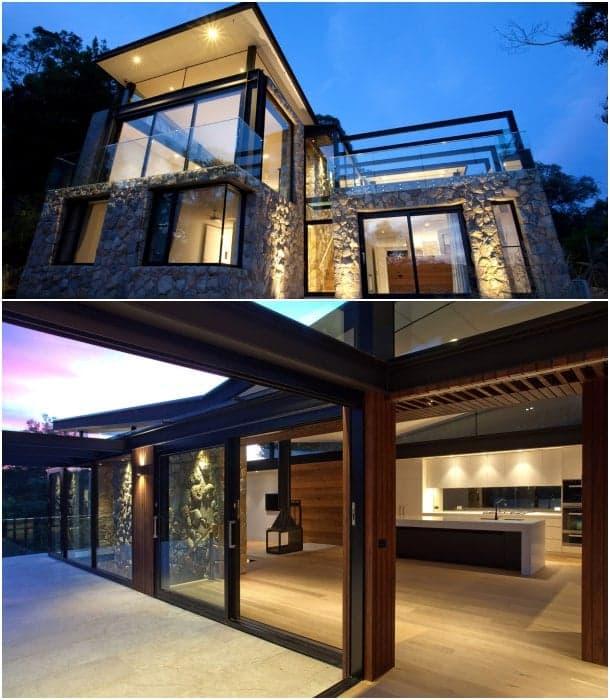 Warrandyte casa contemporánea con muros de piedra