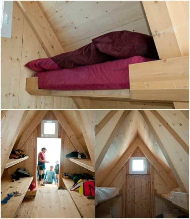 interior refugio madera Luca Vuerich