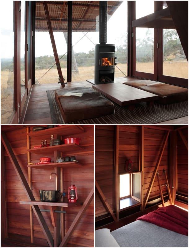 interior refugio prefabricado madera Permanent Camping