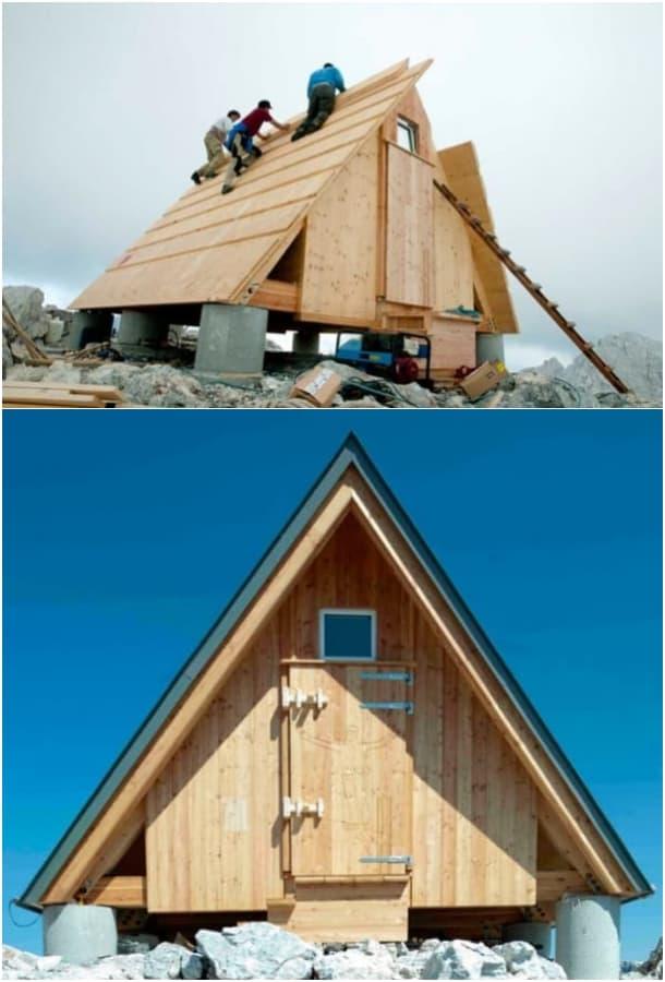 montaje refugio Luca Vuerich Alpes Julianos