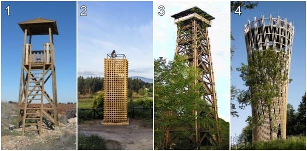 pequeñas torres de madera