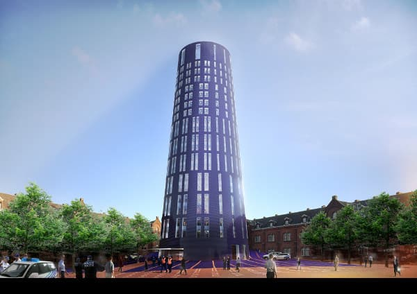 plaza con torre de policia de Charleroi