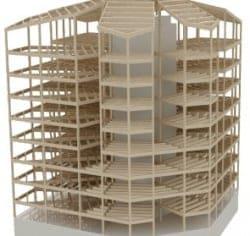 torre con estructura de madera laminada