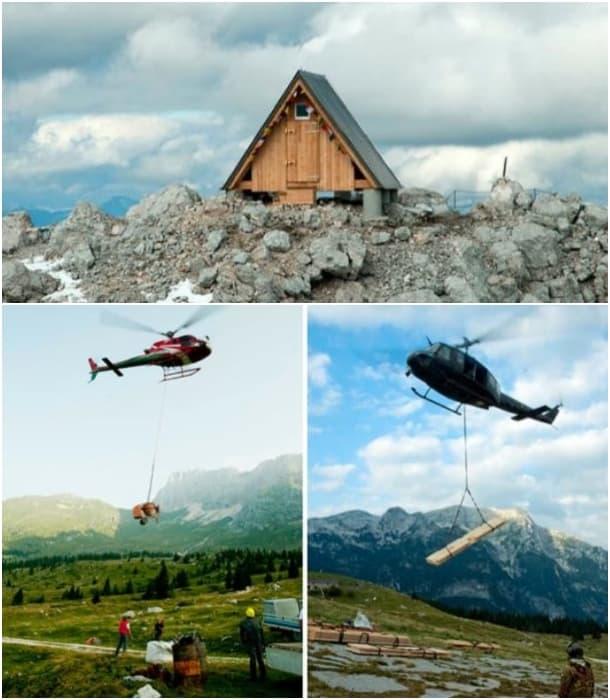 transporte refugio helicoptero Luca Vuerich