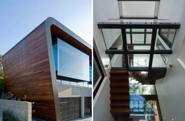 Casa con fachada de vidrio y madera ettley residence for Fachada de casas modernas con vidrio