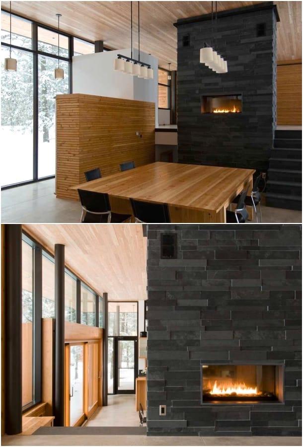 comedor chimenea Casa Lago Eels Altius Architecture