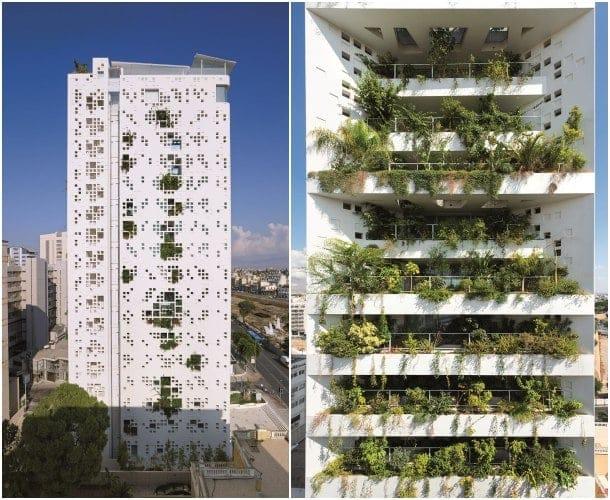 fachadas con vegetación torre White Walls