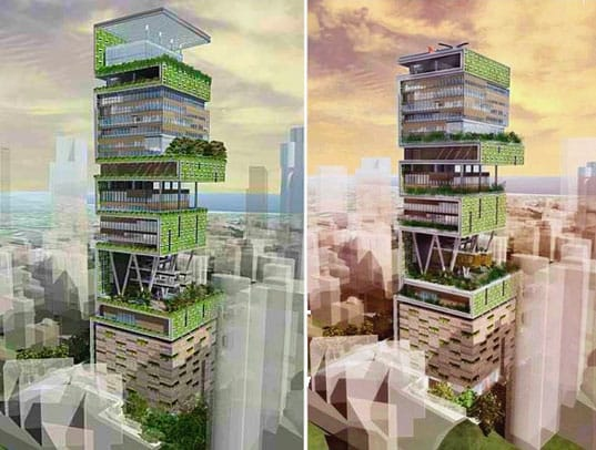renders proyecto torre Antilia House