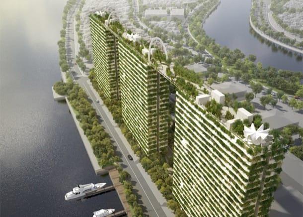 Torres con jardines de bambú y azoteas conectadas