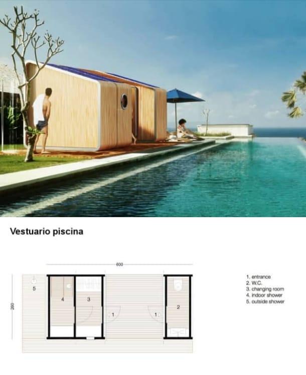 vestuario piscina modulo LeapNest