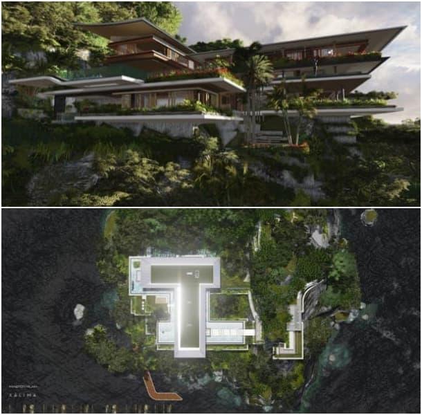 Casa Xalima vista desde abajo y superior