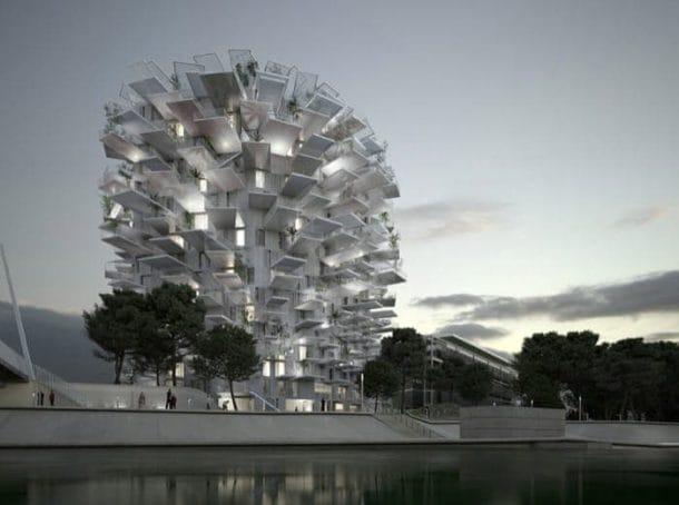 Arbre Blanc: torre residencial con grandes balcones