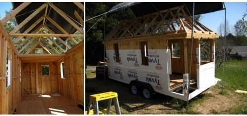 construcción mini casa sobre ruedas