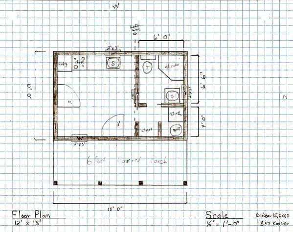 croquis Pine Top, vivienda mínima de 20m2