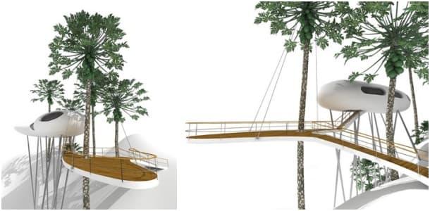 exterior - refugio elevado Jungle House