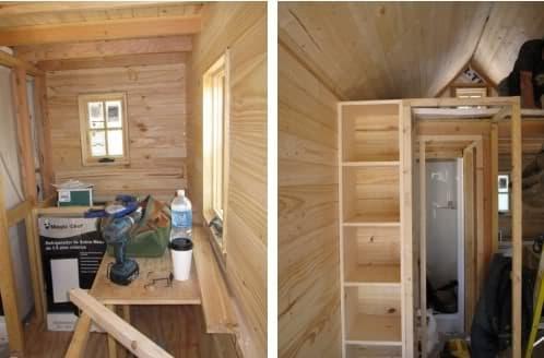 interior mini casa sobre remolque