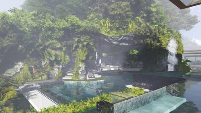 casa Water Pavilion Martin Ferrero terraza rocas