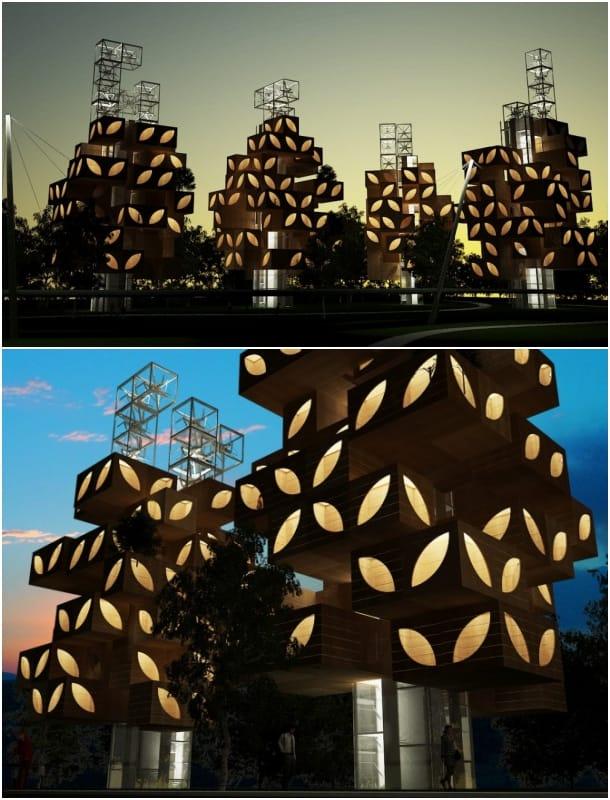 exterior viviendas T-Tree concurso Suburbia