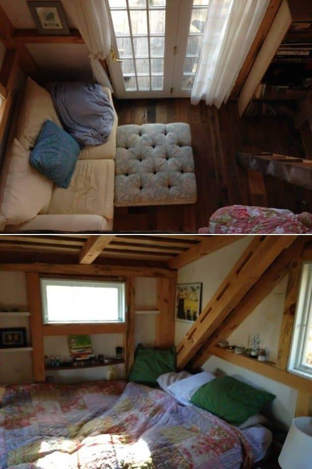 mini casa de Dave Herrie - sala y dormitorio
