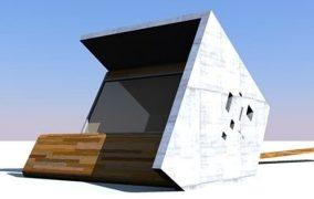 Moderno refugio de madera y hormigón