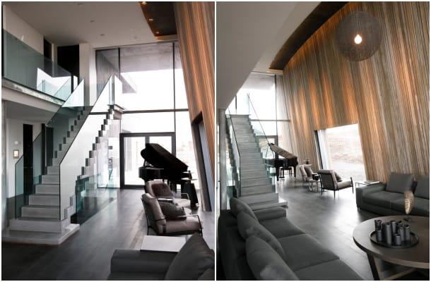 salon Casa G con pared inclinada