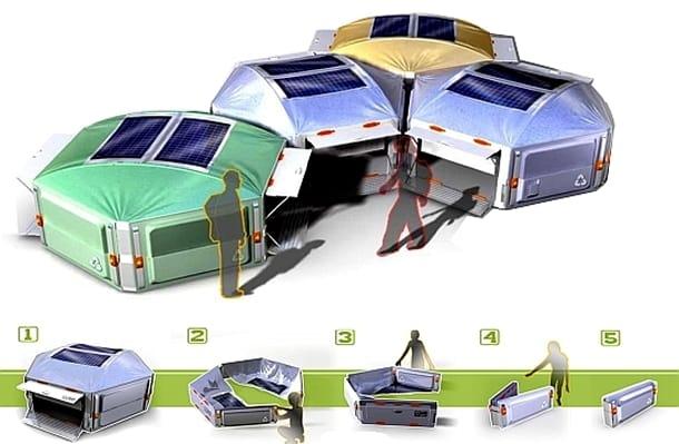 Refugio solar Honeycomb facil de plegar