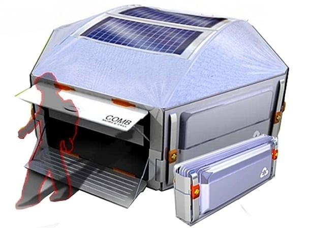 Ligero refugio con láminas fotovoltaicas
