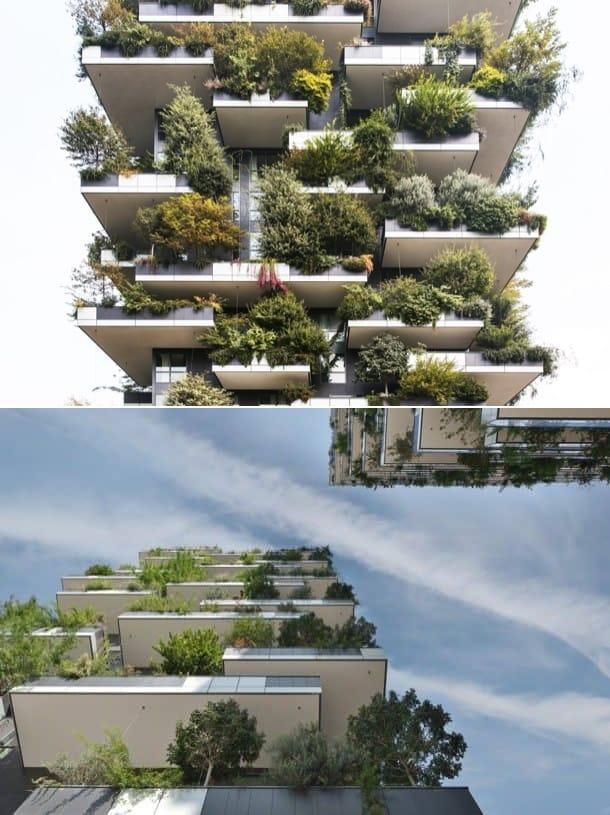 detalle fachada de arboles Bosco Verticale Milan