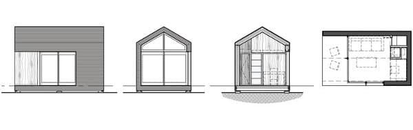 planos refugio prefabricado Cinder Box