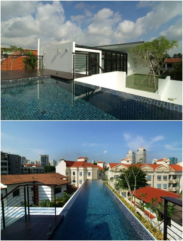 azotea con piscina Casa Merlimau