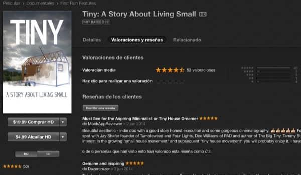 valoraciones iTunes documental TINY