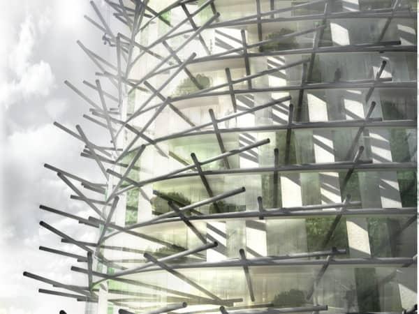 London Organic Skyscraper detalle fachada