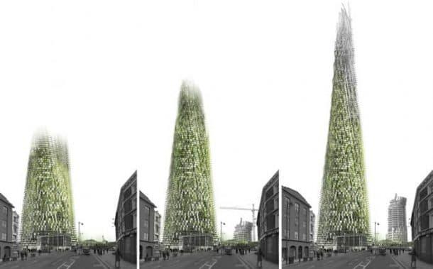 Torre que crece con los residuos generados