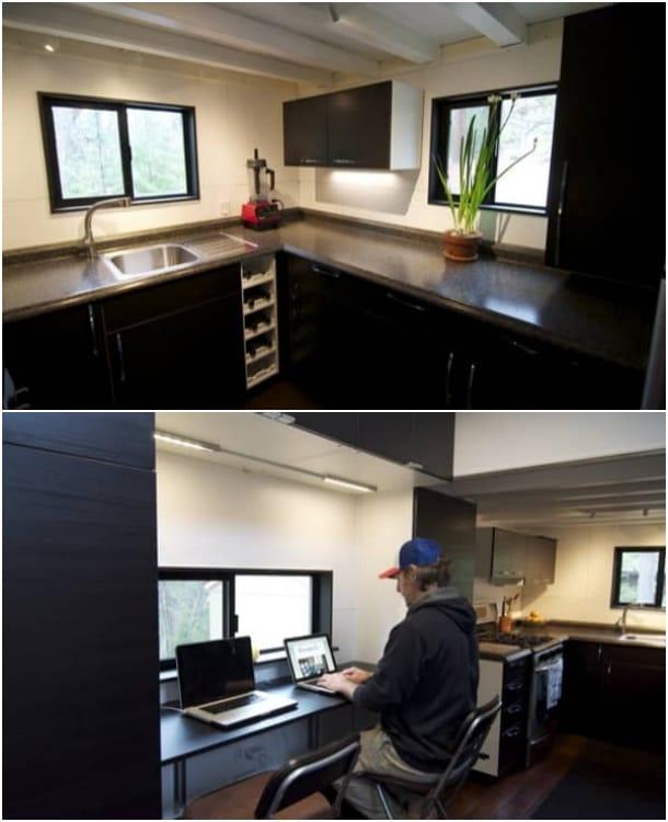 casa autoconstruida hOMe cocina y escritorio