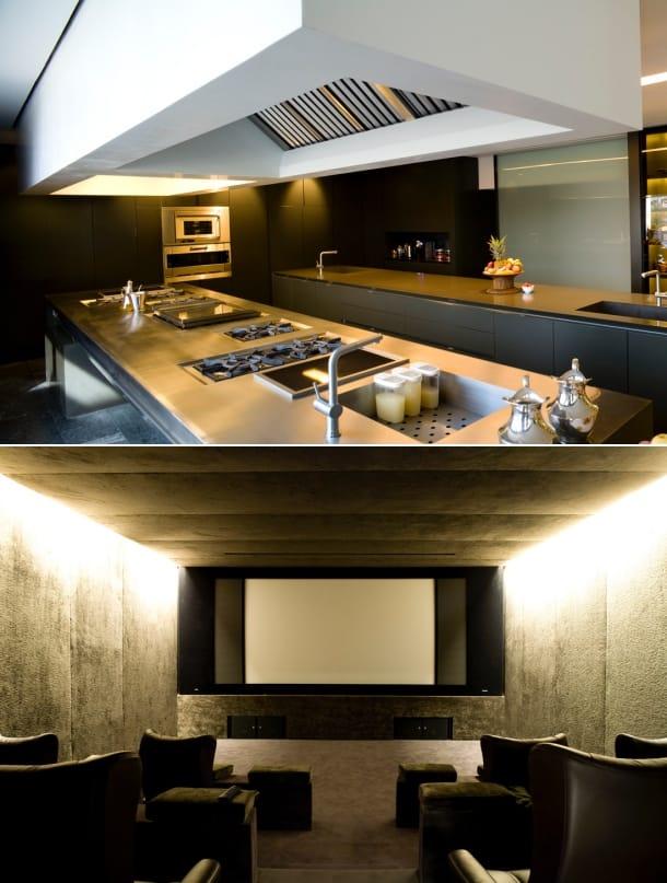 cocina y sala cine Villa Somosaguas A-Cero