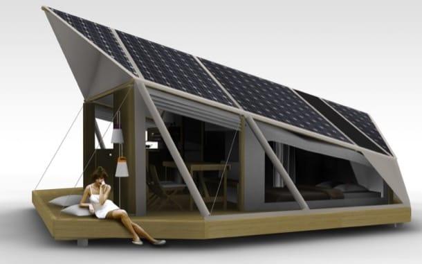 Tienda de campaña con energía solar