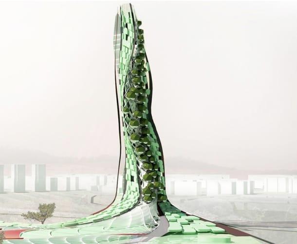 Granja vertical con diseño biónico